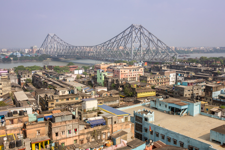 Howrah bridge - The historic cantilever bridge on the river Hooghly during the day in Kolkata, India. Top view photo