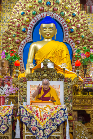 Dharamsala, India - June 6, 2017: His Holiness the 14 Dalai Lama Tenzin Gyatso gives teachings in his residence in Dharamsala, India.