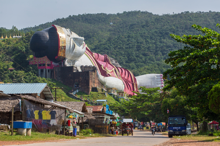 Kyauktalon Taung, Myanmar - October 18, 2016: Win Sein Taw Ya, the largest Reclining Buddha image in the world, in Kyauktalon Taung, near Mawlamyine, Myanmar.