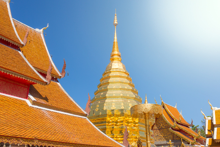 Golden chedi (stupa) and umbrella in Wat Phra That Doi Suthep temple, Chiang Mai, Thailand Stock Photo