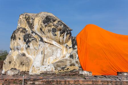 Reclining Buddha at Wat Lokayasutharam in Ayutthaya, Thailand Stock Photo