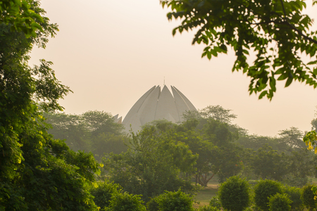 The Lotus Temple or Bahai House of Worship  during sunset in New Delhi, India.