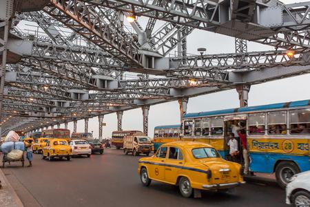 Kolkata, India - April 6, 2017: Traffic on the Howrah bridge in Calcutta, West Bengal, India