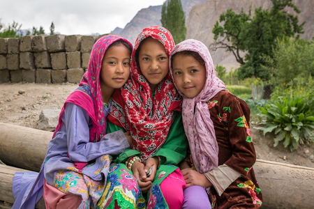 Turtuk, India - June 28, 2017: Unidentified Balti girls poses for a photo in Turtuk village on the border with Pakistan, Ladakh, India