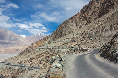 Roads of Ladakh, India. Mountain road in Himalayas