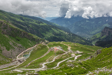 View from Rohtang pass at beautiful green Kullu valley in Himachal Pradesh state, India