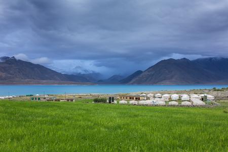 Tented tourist camp at Pangong Tso Lake in Ladakh, India. Stock Photo