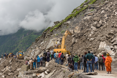 Manali, India - July 19, 2017: Landslide on the Manali - Leh Highway at the Rohtang pass area, HImachal Pradesh, India.