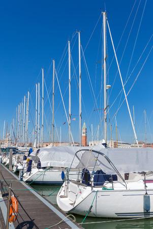 Yacht harbour on San Giorgio Maggiore in Venice, Italy Stok Fotoğraf