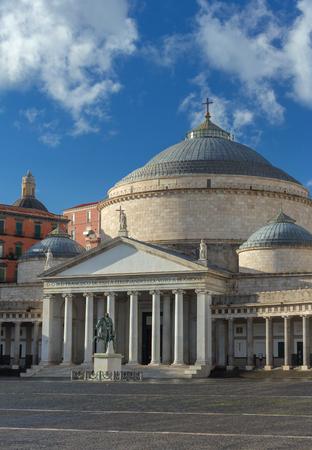 Church San Francesco di Paola, Plebiscito Square ( Piazza del Plebiscito ) in Naples, Italy