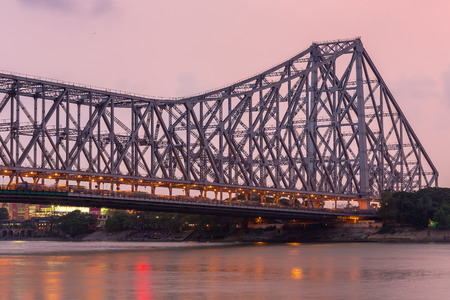 Howrah bridge - The historic cantilever bridge on the river Hooghly during the night in Kolkata, India Stock Photo