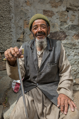 Turtuk, India - June 28, 2017: Unidentified senior Balti man poses for a photo in Turtuk village on the border with Pakistan, Ladakh, India Editöryel