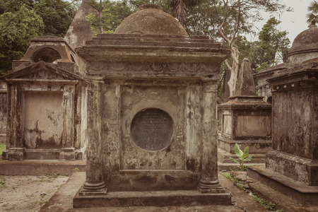 Tombs of South Park Street Cemetery in Kolkata, India. Vintage style filter applied