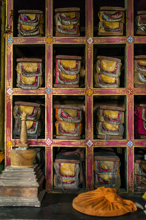 Folios of old manuscripts in library of Stakna gompa Tibetan Buddhist Monastery in Ladakh, India