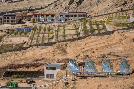 Big Solar Water Boilers in modern experimental school in Leh, Ladakh, India. Alternative energy con�ept