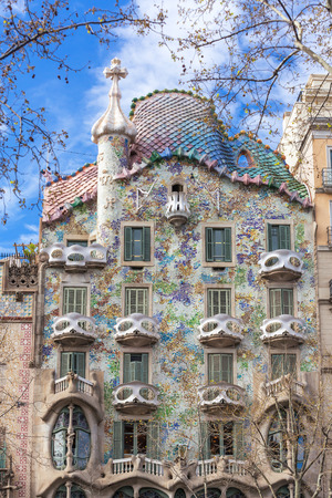 Barcelona, Spain - March 26, 2018: Exterior View of Casa Batllo in Barcelona.