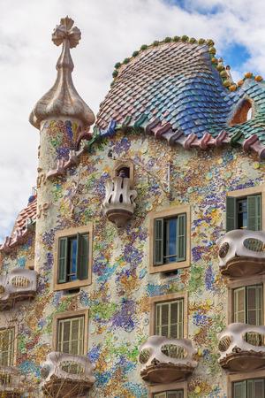 Barcelona, Spain - March 26, 2018: Exterior View of Casa Batllo in Barcelona.