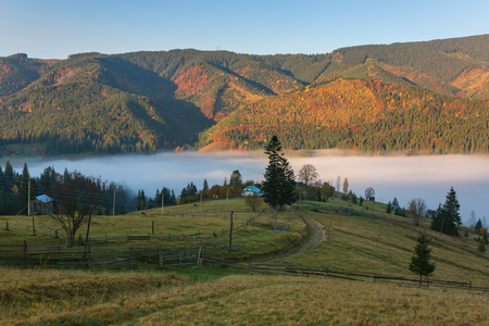 Colorful autumn landscape in the mountain village. Foggy morning in the Carpathian mountains, Ukraine