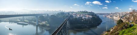 Ponte Maria Pia, Sao Joao and Ponte dom Luis bridges in Porto at sunny day, Portugal Stock Photo