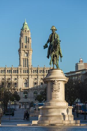 Statue of King Dom Pedro VI on the Praca da Liberdade in the historic centre of Porto, Portugal
