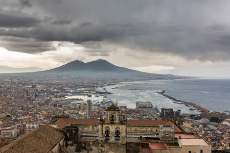 Panorama of Naples, view of the port in the Gulf of Naples and Mount Vesuvius. The province of Campania. Italy. Cloudy day Reklamní fotografie