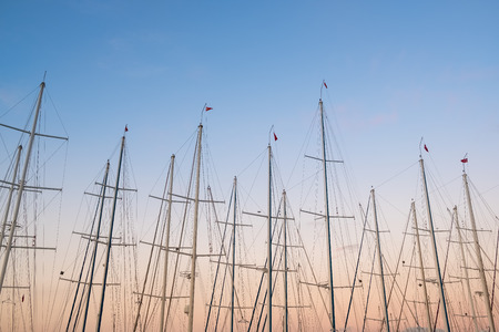 Yacht masts at twilight sky background.