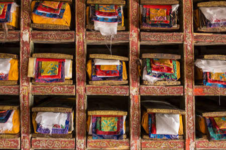 Folios of old manuscripts in library of Matho gompa Tibetan Buddhist Monastery in Ladakh, India