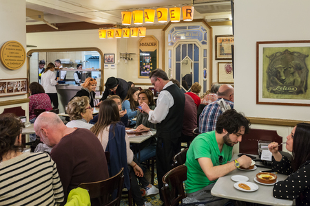 Barcelona, Spain - March 28, 2018: Famous traditional cafe Granja M Viader in Barcelona