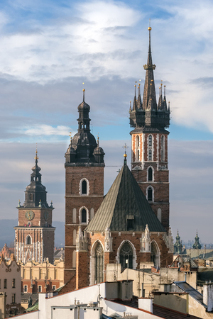 St. Mary's Basilica and Town Hall Tower in Krakow, Poland.
