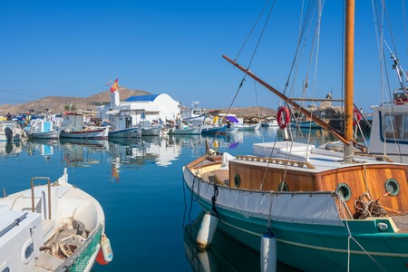 Fishing boats in Naoussa port, Paros island, Cyclades Stok Fotoğraf