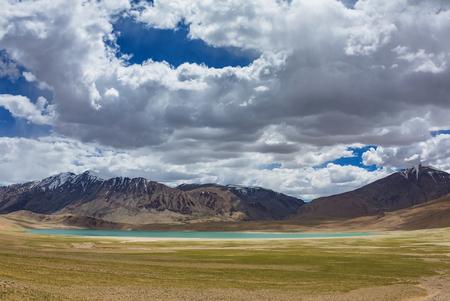 Beautiful landscape of Thadsangkaru Tso or Kiagar Tso lake in Ladakh