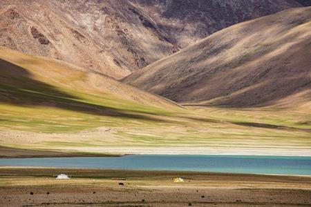 Beautiful landscape of Kiagar Tso lake in Ladakh, India Stock Photo