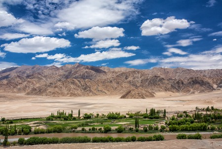 Beautiful panorama of green Indus valley near Leh city in Ladakh, India
