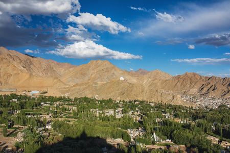 Beautiful view of Leh city and green Indus valley, Ladakh, India.