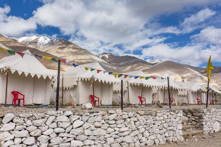 Tented tourist camp at Pangong Tso Lake in Ladakh