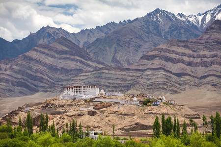 Stakna gompa temple  buddhist monastery with Himalaya mountains at background Stock Photo
