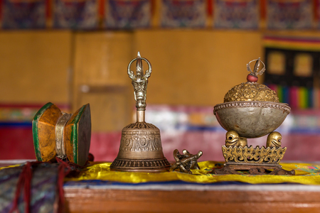 Closeup of the ceremonial objects in tibetan buddhist monastery in Ladakh