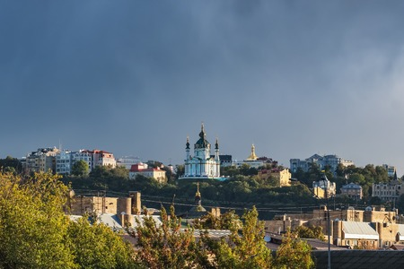St Andrews Church at cloudy summer day in Kyiv, Ukraine Imagens