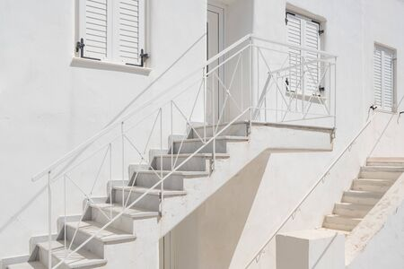 Traditional cycladic white house facade on Paros island, Cyclades