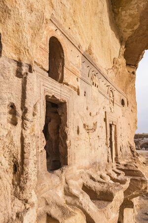 Entrance to the ancient Cavusin fortress and church Vaftizci Yahya, Saint John the Baptist in Cappadocia