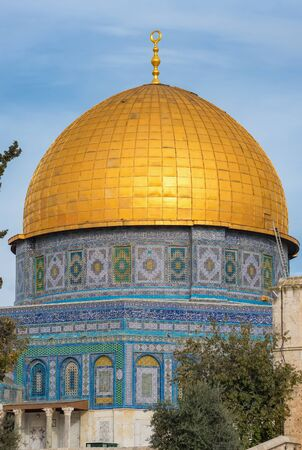 Mosque of Al-aqsa or Dome of the Rock in Jerusalem, Israel Imagens - 128568856