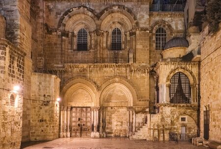 Facade of the Church of the Holy Sepulchre in Jerusalem, Israel