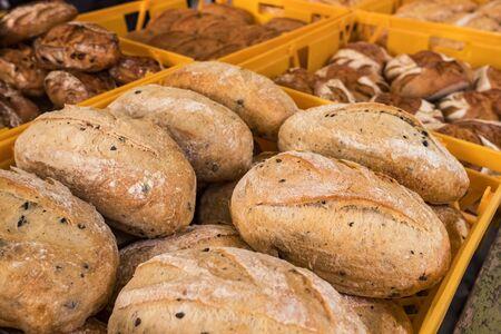 Fresh bread on the market closeup