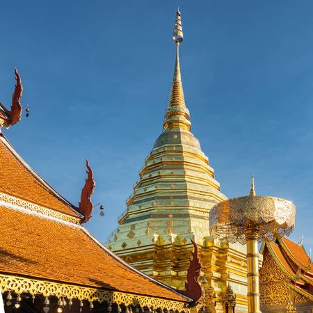 Golden chedi and umbrella in Wat Phra That Doi Suthep temple, Chiang Mai, Thailand