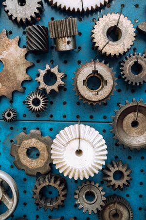 Various of rusty metal gear wheels background