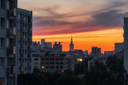 Warsaw skyline with Palace of Culture and Science at sunset