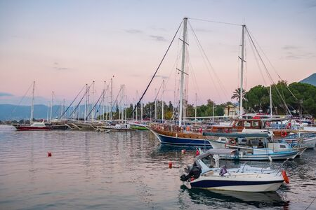 Yacht boats at marina in Fethiye, Turkey