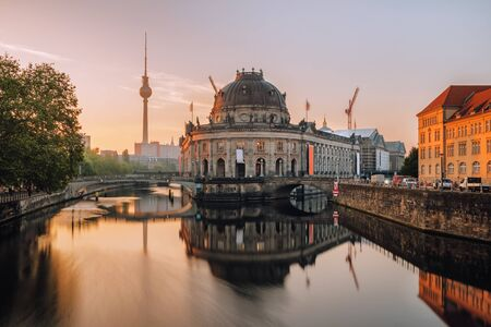 Museum Island on Spree river and tower at background at sunrise in Berlin Stock Photo - 129921798