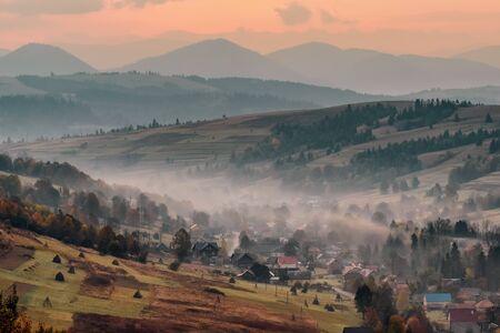 Colorful autumn landscape in the mountain village in Ukraine