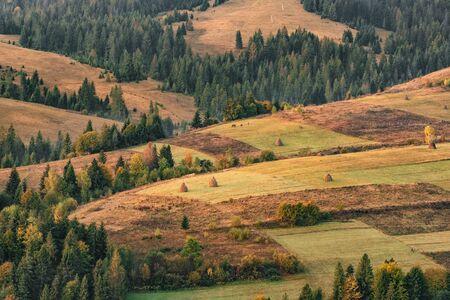 Beautiful autumn landscape in the mountain village in Ukraine